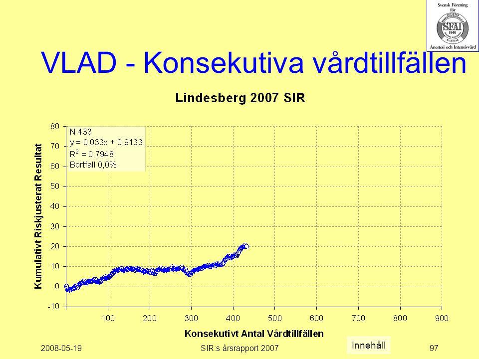 2008-05-19SIR:s årsrapport 200797 VLAD - Konsekutiva vårdtillfällen Innehåll