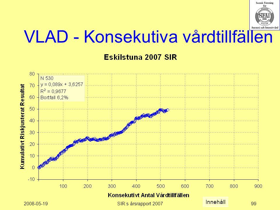 2008-05-19SIR:s årsrapport 200799 VLAD - Konsekutiva vårdtillfällen Innehåll