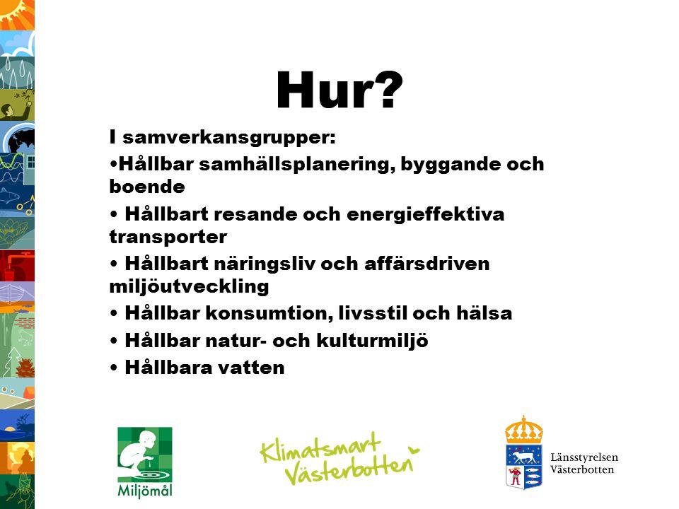 Hur? I samverkansgrupper: Hållbar samhällsplanering, byggande och boende Hållbart resande och energieffektiva transporter Hållbart näringsliv och affä