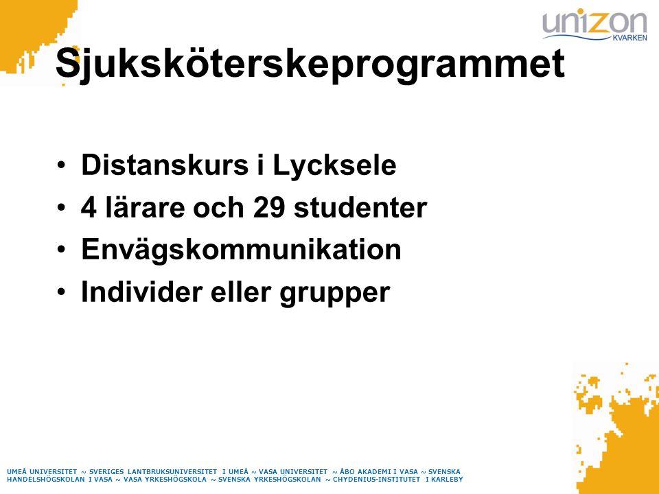 Sjuksköterskeprogrammet Distanskurs i Lycksele 4 lärare och 29 studenter Envägskommunikation Individer eller grupper