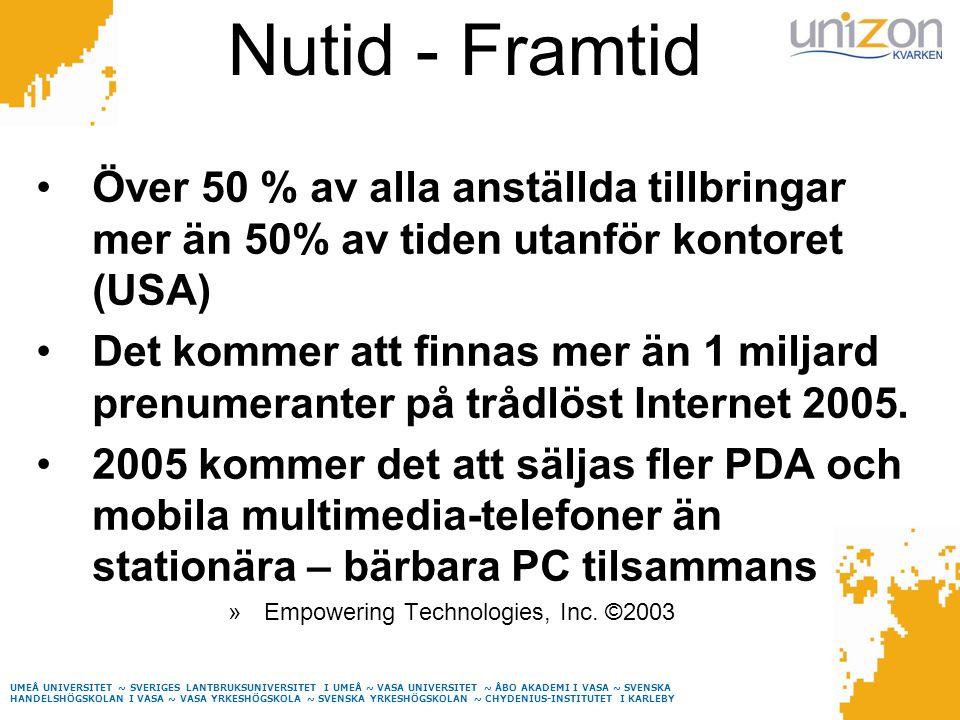 UMEÅ UNIVERSITET ~ SVERIGES LANTBRUKSUNIVERSITET I UMEÅ ~ VASA UNIVERSITET ~ ÅBO AKADEMI I VASA ~ SVENSKA HANDELSHÖGSKOLAN I VASA ~ VASA YRKESHÖGSKOLA ~ SVENSKA YRKESHÖGSKOLAN ~ CHYDENIUS-INSTITUTET I KARLEBY Nutid - Framtid Över 50 % av alla anställda tillbringar mer än 50% av tiden utanför kontoret (USA) Det kommer att finnas mer än 1 miljard prenumeranter på trådlöst Internet 2005.