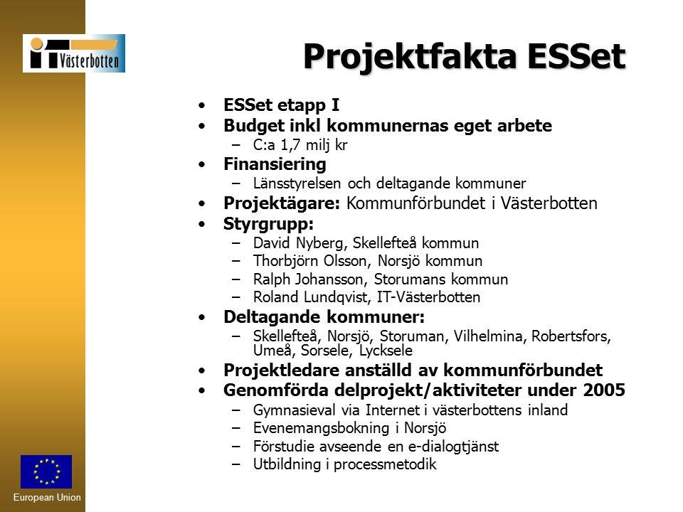 European Union Projektfakta ESSet ESSet etapp I Budget inkl kommunernas eget arbete –C:a 1,7 milj kr Finansiering –Länsstyrelsen och deltagande kommun