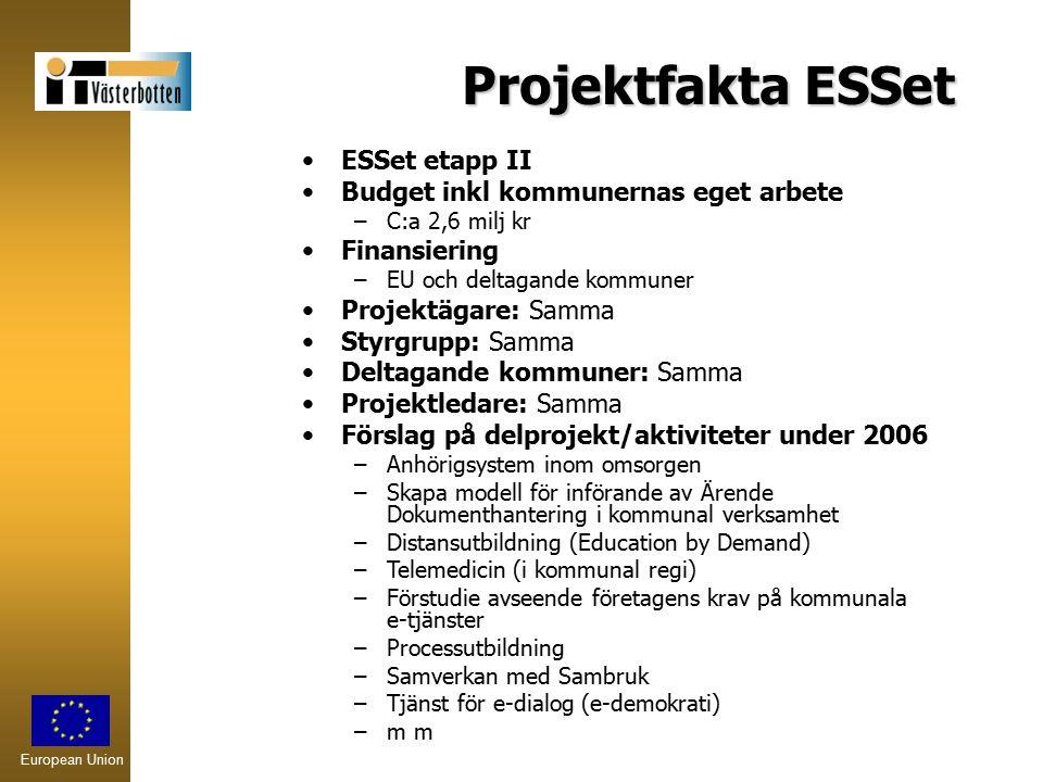 European Union Projektfakta ESSet ESSet etapp II Budget inkl kommunernas eget arbete –C:a 2,6 milj kr Finansiering –EU och deltagande kommuner Projekt