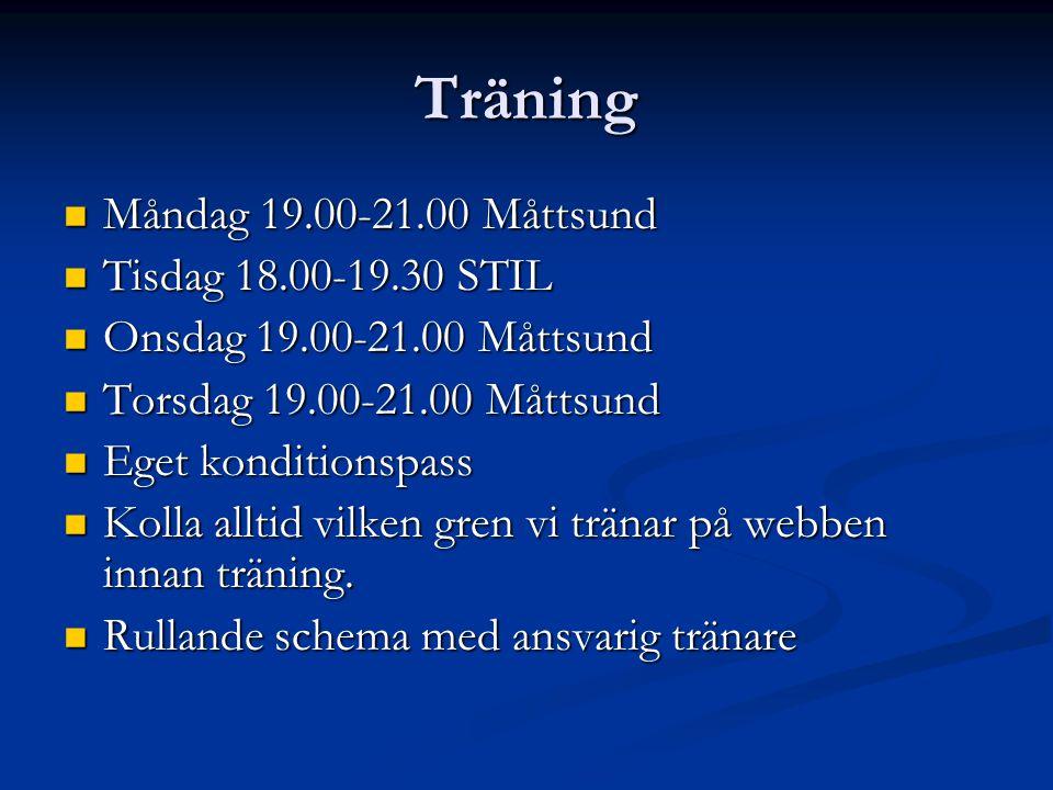 Träning Måndag 19.00-21.00 Måttsund Måndag 19.00-21.00 Måttsund Tisdag 18.00-19.30 STIL Tisdag 18.00-19.30 STIL Onsdag 19.00-21.00 Måttsund Onsdag 19.00-21.00 Måttsund Torsdag 19.00-21.00 Måttsund Torsdag 19.00-21.00 Måttsund Eget konditionspass Eget konditionspass Kolla alltid vilken gren vi tränar på webben innan träning.