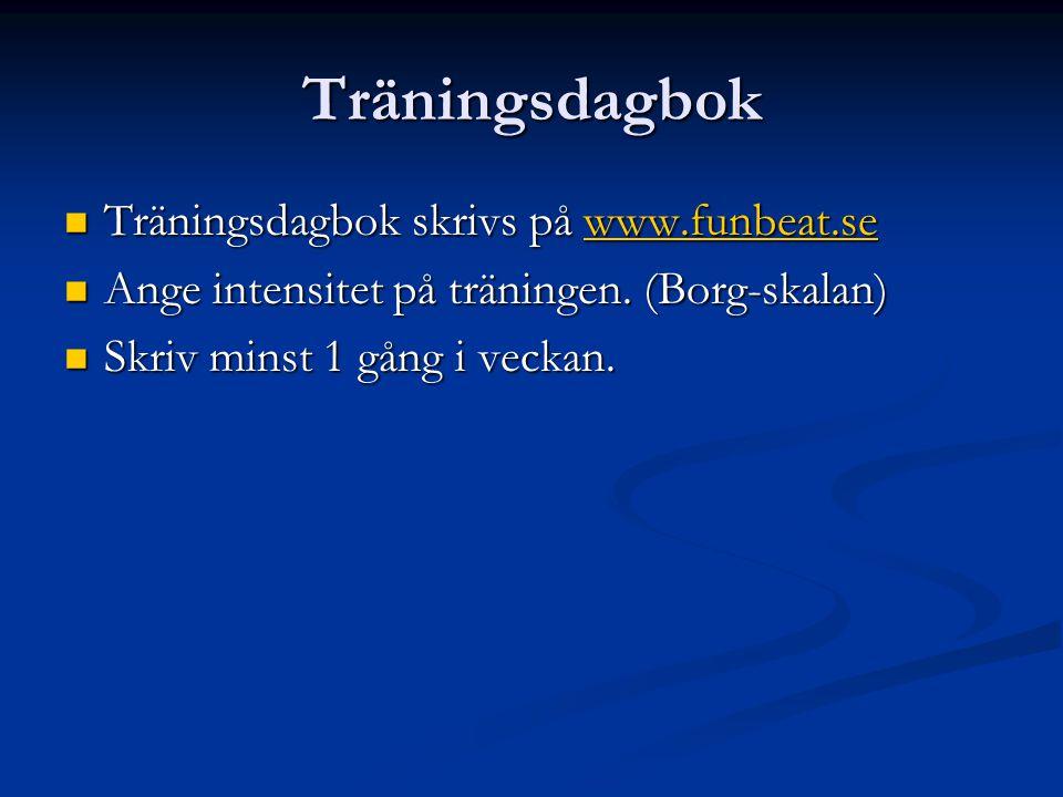 Träningsdagbok Träningsdagbok skrivs på www.funbeat.se Träningsdagbok skrivs på www.funbeat.sewww.funbeat.se Ange intensitet på träningen.