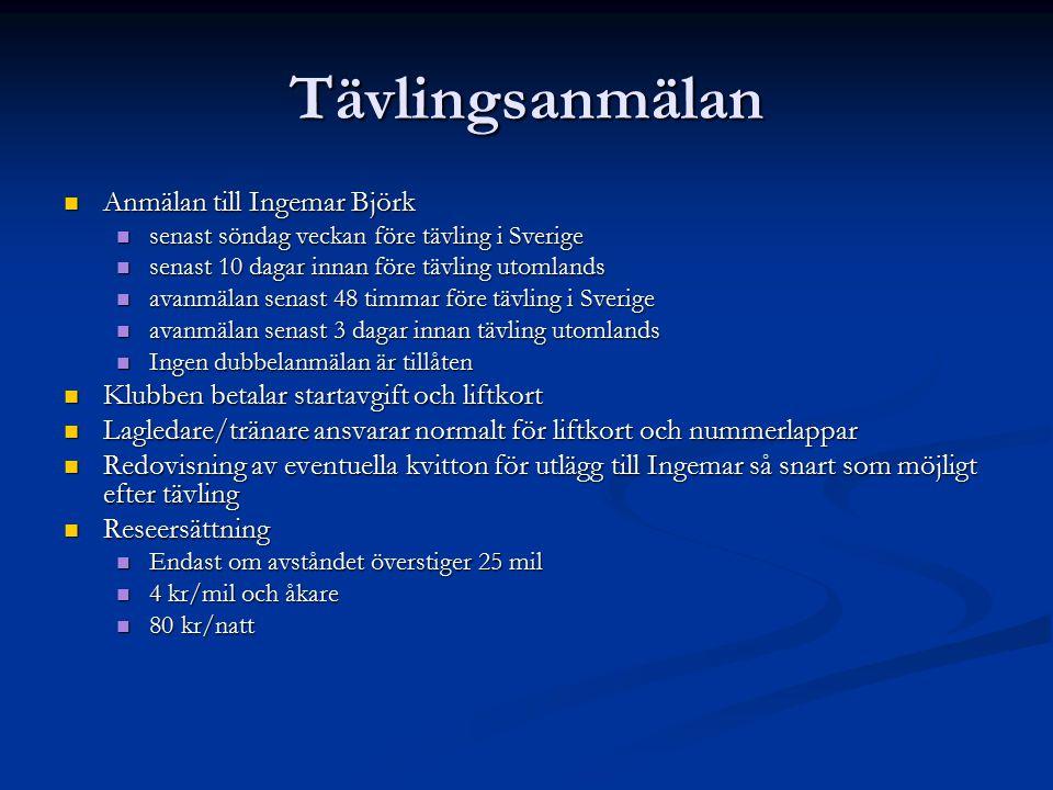 Tävlingsanmälan Anmälan till Ingemar Björk Anmälan till Ingemar Björk senast söndag veckan före tävling i Sverige senast söndag veckan före tävling i Sverige senast 10 dagar innan före tävling utomlands senast 10 dagar innan före tävling utomlands avanmälan senast 48 timmar före tävling i Sverige avanmälan senast 48 timmar före tävling i Sverige avanmälan senast 3 dagar innan tävling utomlands avanmälan senast 3 dagar innan tävling utomlands Ingen dubbelanmälan är tillåten Ingen dubbelanmälan är tillåten Klubben betalar startavgift och liftkort Klubben betalar startavgift och liftkort Lagledare/tränare ansvarar normalt för liftkort och nummerlappar Lagledare/tränare ansvarar normalt för liftkort och nummerlappar Redovisning av eventuella kvitton för utlägg till Ingemar så snart som möjligt efter tävling Redovisning av eventuella kvitton för utlägg till Ingemar så snart som möjligt efter tävling Reseersättning Reseersättning Endast om avståndet överstiger 25 mil Endast om avståndet överstiger 25 mil 4 kr/mil och åkare 4 kr/mil och åkare 80 kr/natt 80 kr/natt
