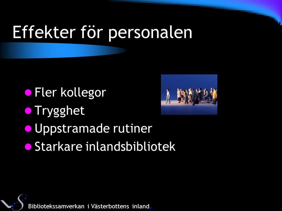 Effekter för personalen Fler kollegor Trygghet Uppstramade rutiner Starkare inlandsbibliotek Bibliotekssamverkan i Västerbottens inland