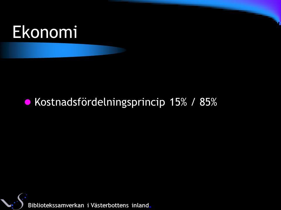 Ekonomi Kostnadsfördelningsprincip 15% / 85% Bibliotekssamverkan i Västerbottens inland