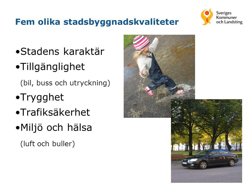 Fem olika stadsbyggnadskvaliteter Stadens karaktär Tillgänglighet (bil, buss och utryckning) Trygghet Trafiksäkerhet Miljö och hälsa (luft och buller)