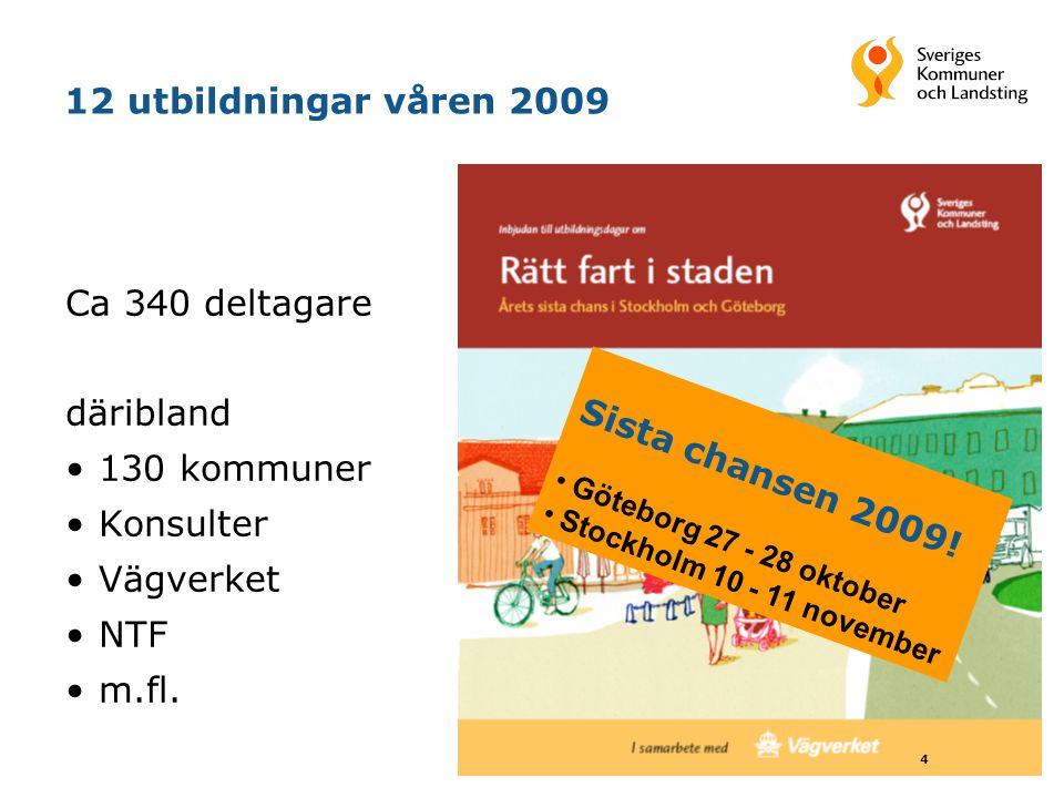4 12 utbildningar våren 2009 Ca 340 deltagare däribland 130 kommuner Konsulter Vägverket NTF m.fl. Sista chansen 2009! Göteborg 27 - 28 oktober Stockh