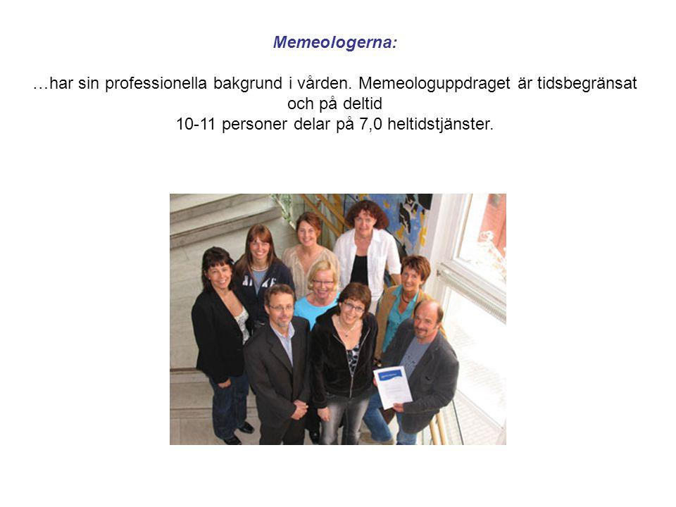 Memeologerna: …har sin professionella bakgrund i vården. Memeologuppdraget är tidsbegränsat och på deltid 10-11 personer delar på 7,0 heltidstjänster.