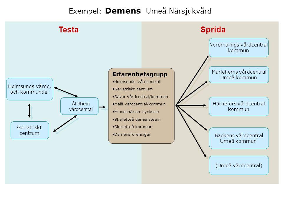 Exempel: Demens Umeå Närsjukvård Holmsunds vårdc. och kommundel Erfarenhetsgrupp Holmsunds vårdcentrall Geriatriskt centrum Sävar vårdcentral/kommun M