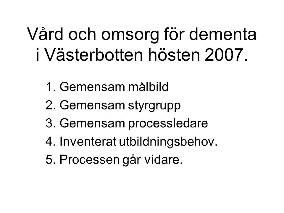 Vård och omsorg för dementa i Västerbotten hösten 2007. 1. Gemensam målbild 2. Gemensam styrgrupp 3. Gemensam processledare 4. Inventerat utbildningsb