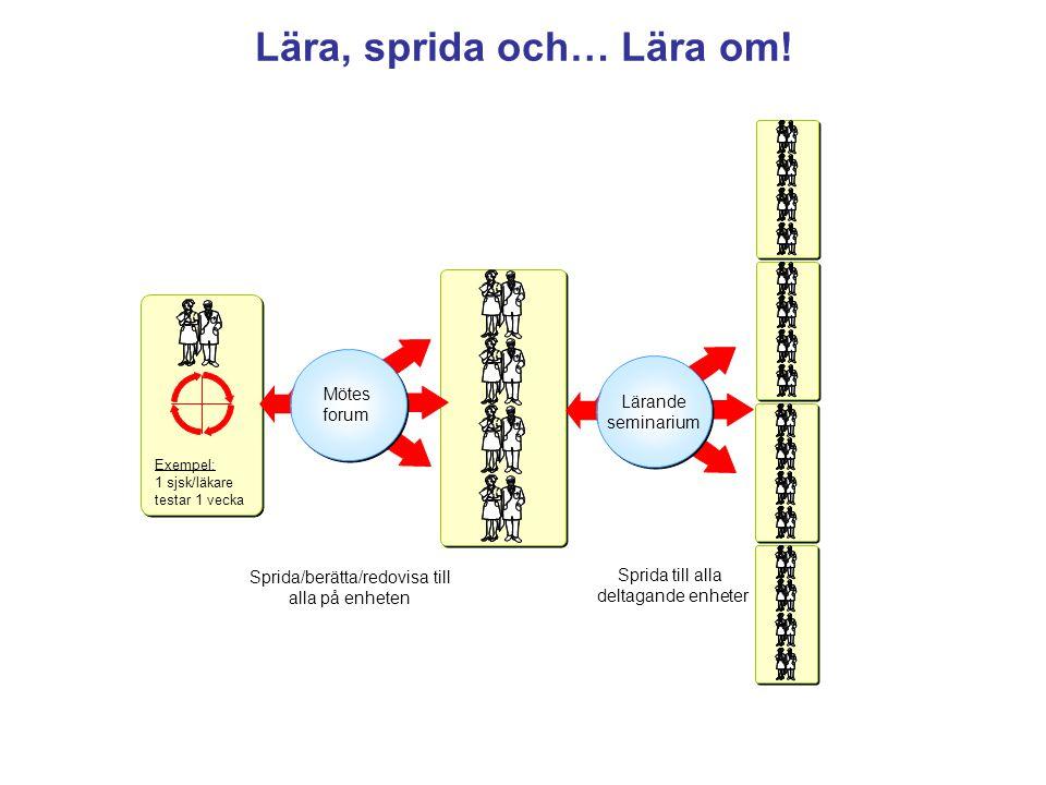 Exempel: 1 sjsk/läkare testar 1 vecka Mötes forum Mötes forum Sprida/berätta/redovisa till alla på enheten Sprida till alla deltagande enheter Lärande