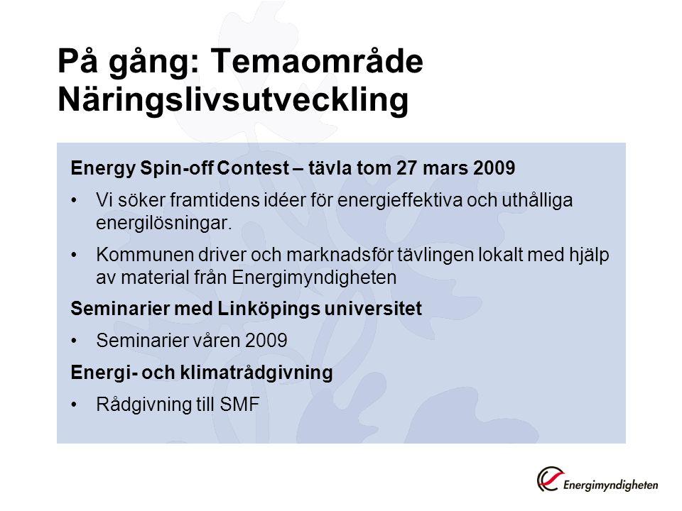 På gång: Temaområde Näringslivsutveckling Energy Spin-off Contest – tävla tom 27 mars 2009 Vi söker framtidens idéer för energieffektiva och uthålliga energilösningar.