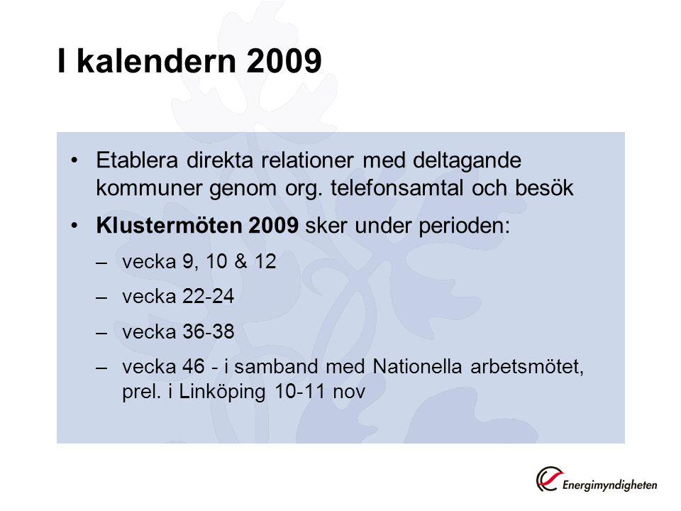 I kalendern 2009 Etablera direkta relationer med deltagande kommuner genom org.