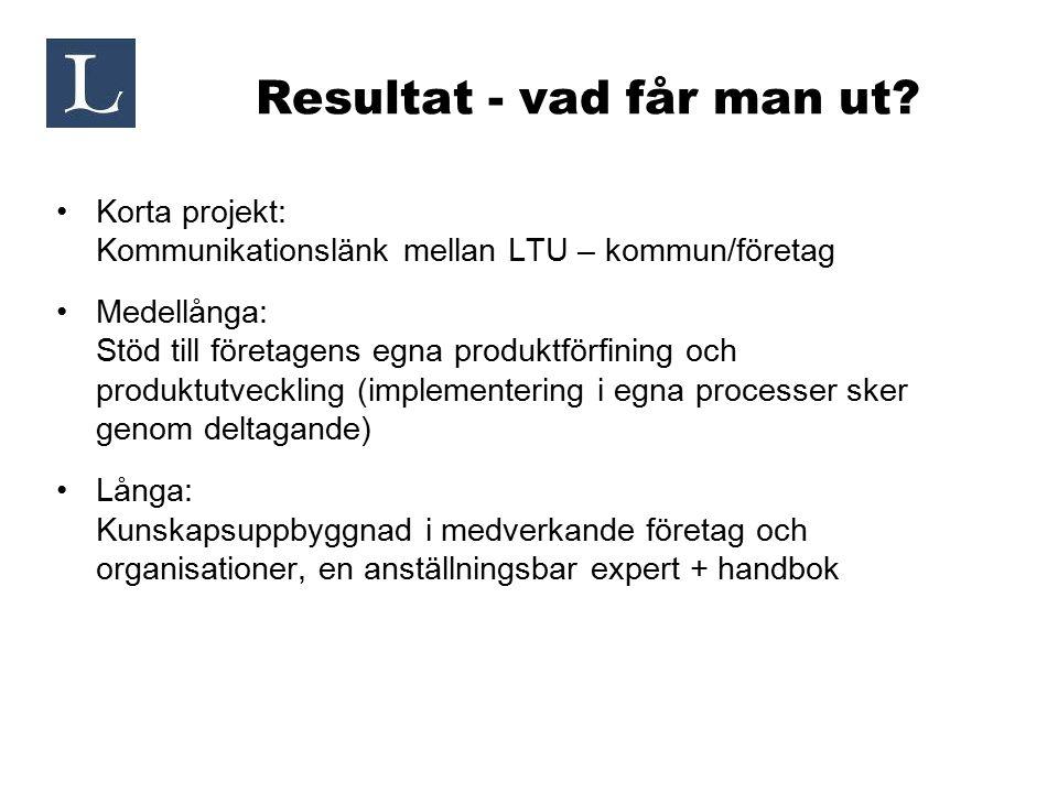 Resultat - vad får man ut? Korta projekt: Kommunikationslänk mellan LTU – kommun/företag Medellånga: Stöd till företagens egna produktförfining och pr