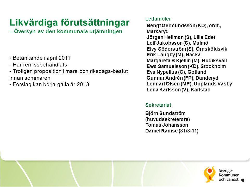 Likvärdiga förutsättningar – Översyn av den kommunala utjämningen - Betänkande i april 2011 - Har remissbehandlats - Troligen proposition i mars och r