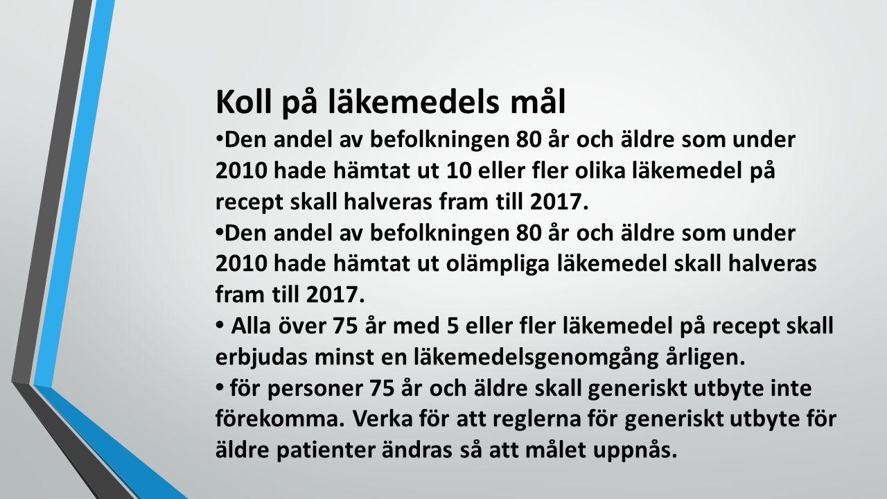 Koll på läkemedels mål Den andel av befolkningen 80 år och äldre som under 2010 hade hämtat ut 10 eller fler olika läkemedel på recept skall halveras fram till 2017.