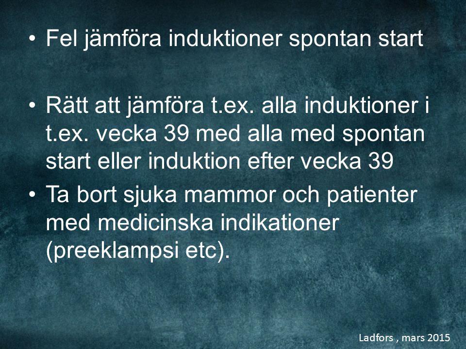 Fel jämföra induktioner spontan start Rätt att jämföra t.ex. alla induktioner i t.ex. vecka 39 med alla med spontan start eller induktion efter vecka