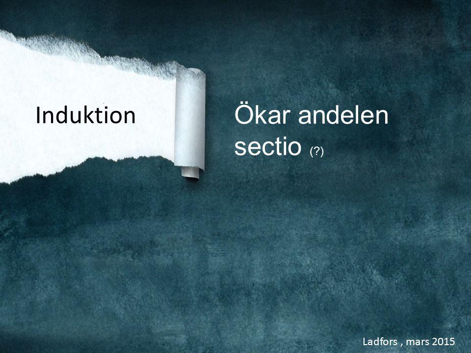 Ladfors, mars 2015 Induktion Ökar andelen sectio (?)