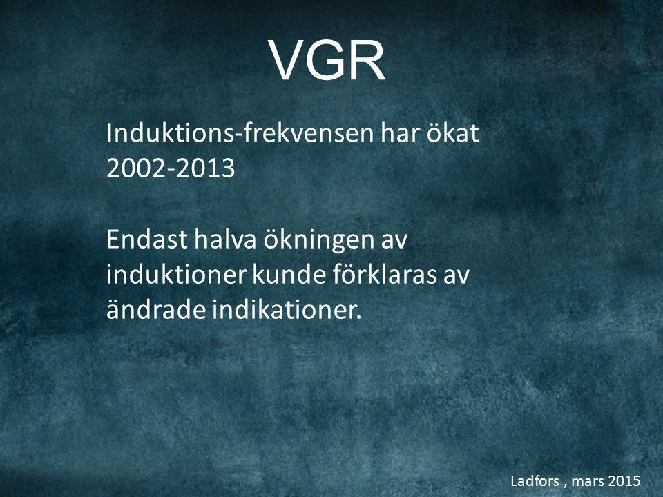 Ladfors, mars 2015 Sectio %, induktionsfrekvens omföderskor Sverige 1973-2013, MFR