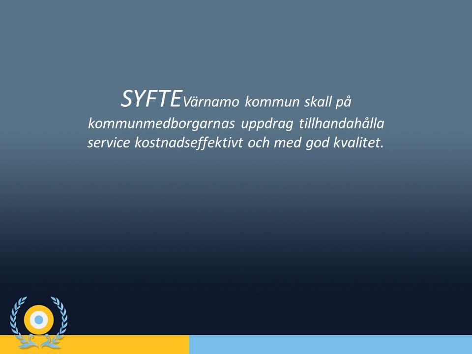 SYFTE Värnamo kommun skall på kommunmedborgarnas uppdrag tillhandahålla service kostnadseffektivt och med god kvalitet.