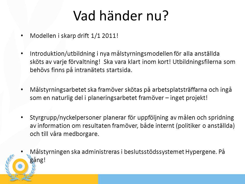 Vad händer nu? Modellen i skarp drift 1/1 2011! Introduktion/utbildning i nya målstyrningsmodellen för alla anställda sköts av varje förvaltning! Ska