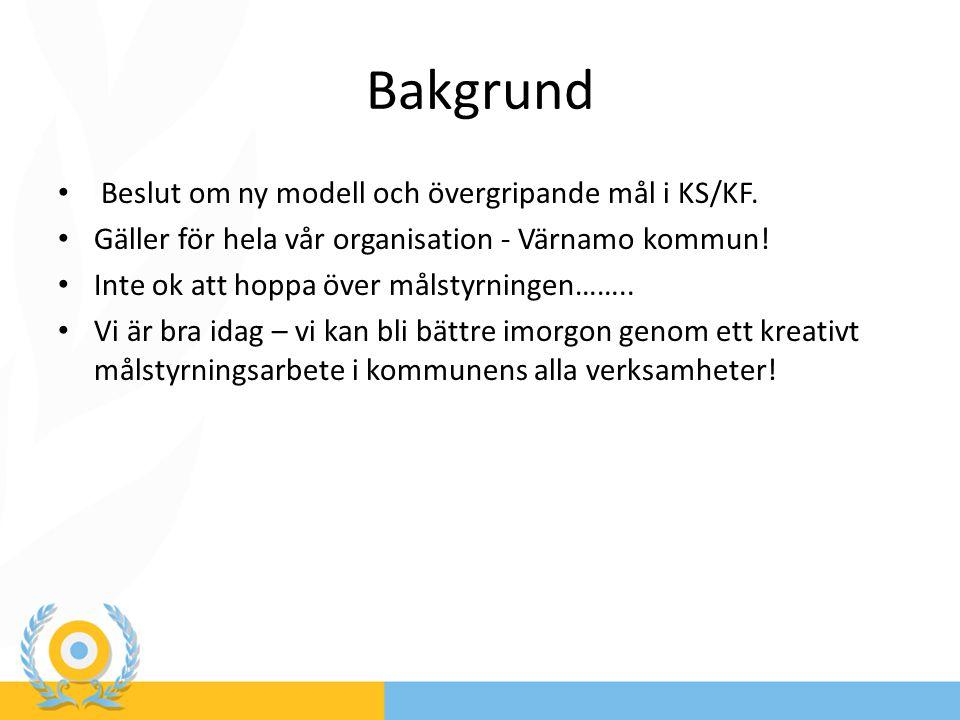 Bakgrund Beslut om ny modell och övergripande mål i KS/KF. Gäller för hela vår organisation - Värnamo kommun! Inte ok att hoppa över målstyrningen……..