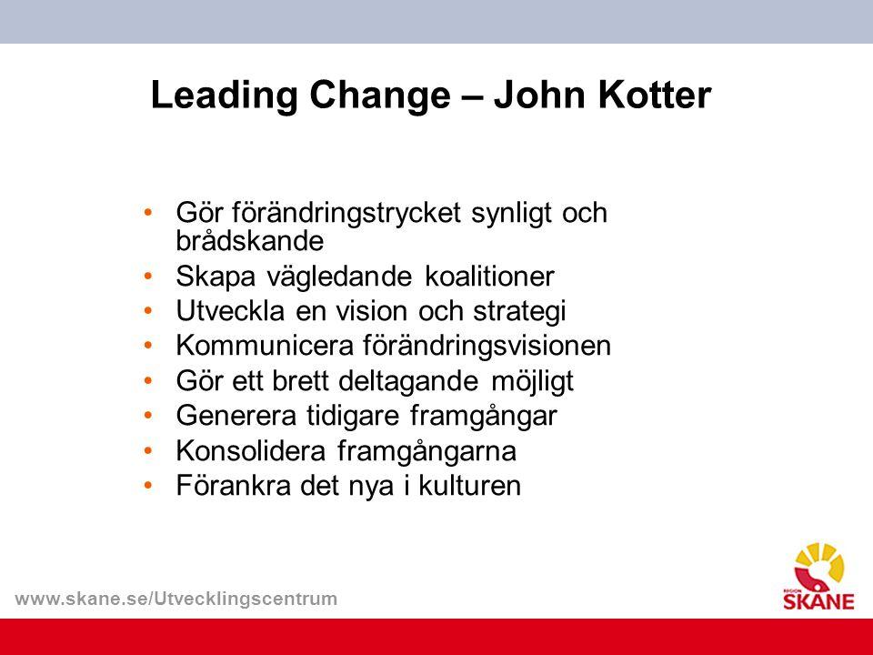 www.skane.se/Utvecklingscentrum Leading Change – John Kotter Gör förändringstrycket synligt och brådskande Skapa vägledande koalitioner Utveckla en vi