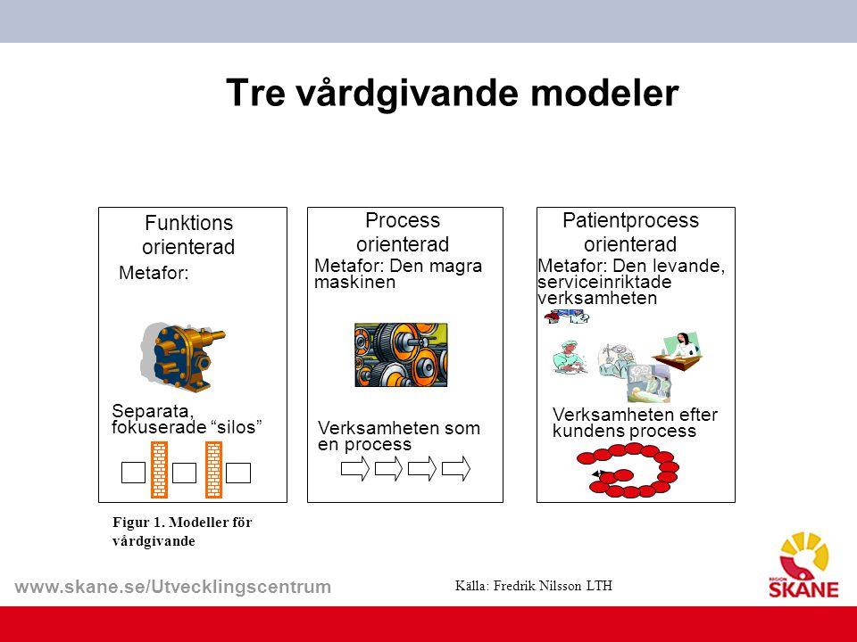 "www.skane.se/Utvecklingscentrum Tre vårdgivande modeler Funktions orienterad Metafor: Separata, fokuserade ""silos"" Process orienterad Metafor: Den mag"