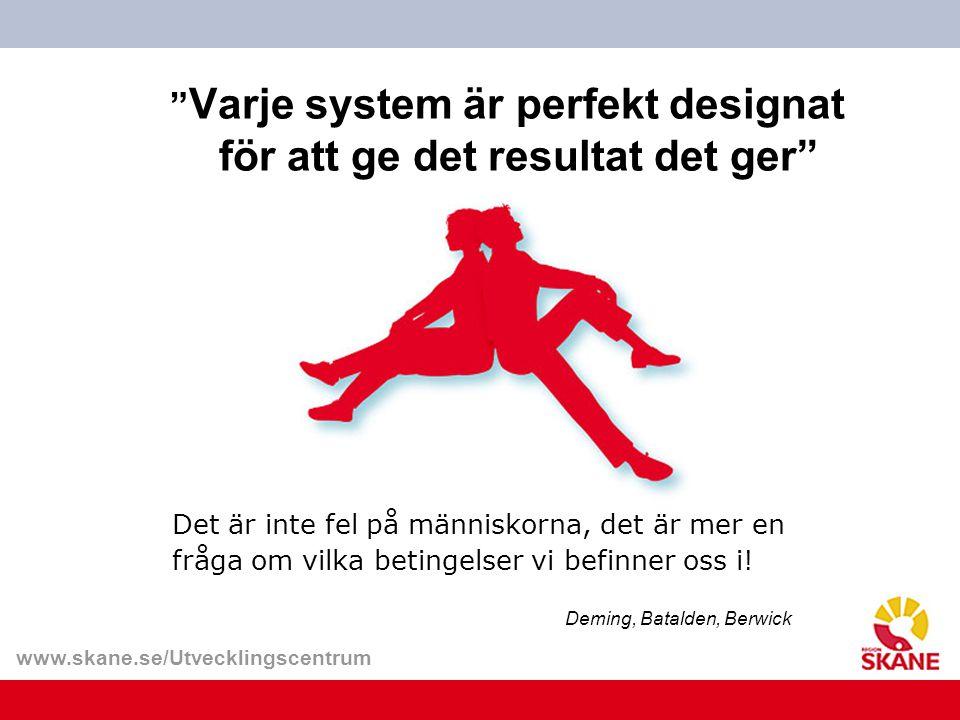 """www.skane.se/Utvecklingscentrum """" Varje system är perfekt designat för att ge det resultat det ger"""" Det är inte fel på människorna, det är mer en fråg"""