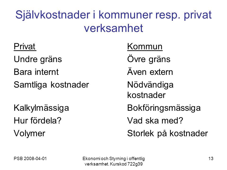 PSB 2008-04-01Ekonomi och Styrning i offentlig verksamhet. Kurskod 722g39 13 Självkostnader i kommuner resp. privat verksamhet PrivatKommun Undre grän