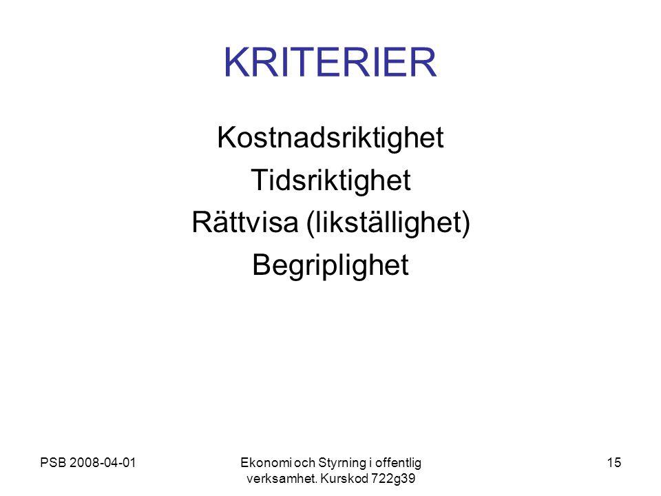 PSB 2008-04-01Ekonomi och Styrning i offentlig verksamhet. Kurskod 722g39 15 KRITERIER Kostnadsriktighet Tidsriktighet Rättvisa (likställighet) Begrip