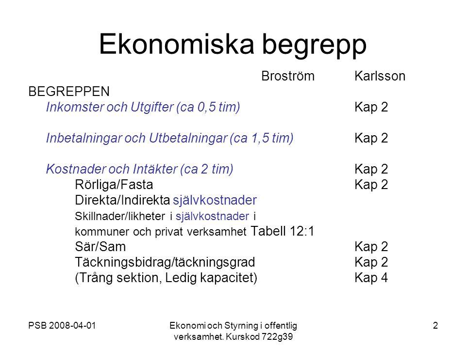 PSB 2008-04-01Ekonomi och Styrning i offentlig verksamhet. Kurskod 722g39 2 Ekonomiska begrepp BroströmKarlsson BEGREPPEN Inkomster och Utgifter (ca 0