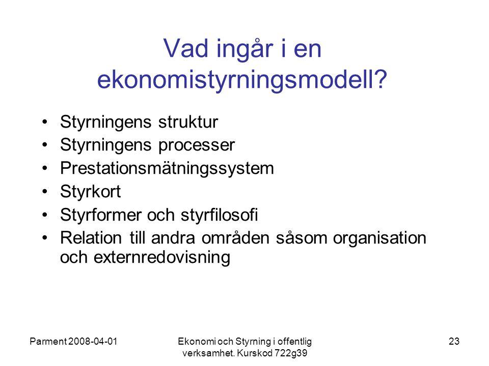 Parment 2008-04-01Ekonomi och Styrning i offentlig verksamhet. Kurskod 722g39 23 Vad ingår i en ekonomistyrningsmodell? Styrningens struktur Styrninge