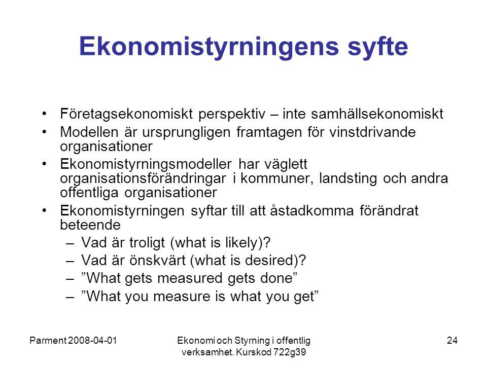 Parment 2008-04-01Ekonomi och Styrning i offentlig verksamhet. Kurskod 722g39 24 Ekonomistyrningens syfte Företagsekonomiskt perspektiv – inte samhäll