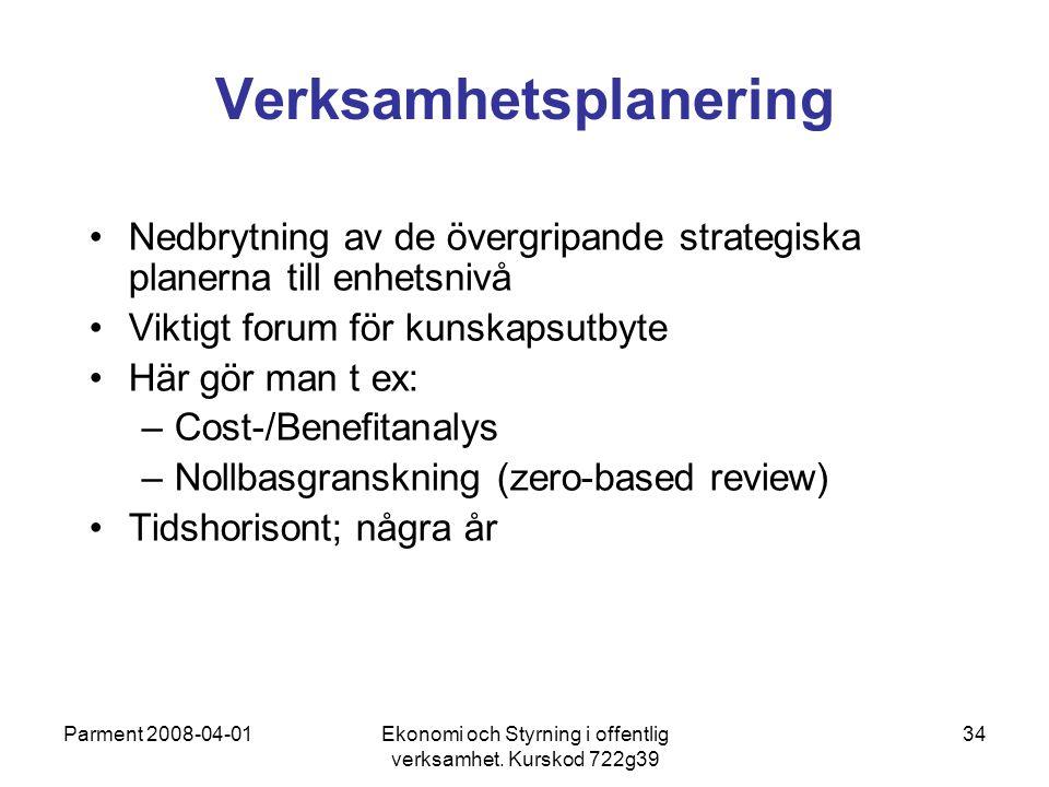 Parment 2008-04-01Ekonomi och Styrning i offentlig verksamhet. Kurskod 722g39 34 Verksamhetsplanering Nedbrytning av de övergripande strategiska plane