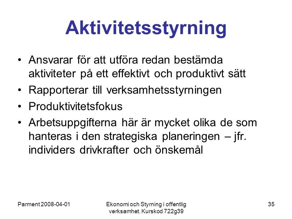 Parment 2008-04-01Ekonomi och Styrning i offentlig verksamhet. Kurskod 722g39 35 Aktivitetsstyrning Ansvarar för att utföra redan bestämda aktiviteter