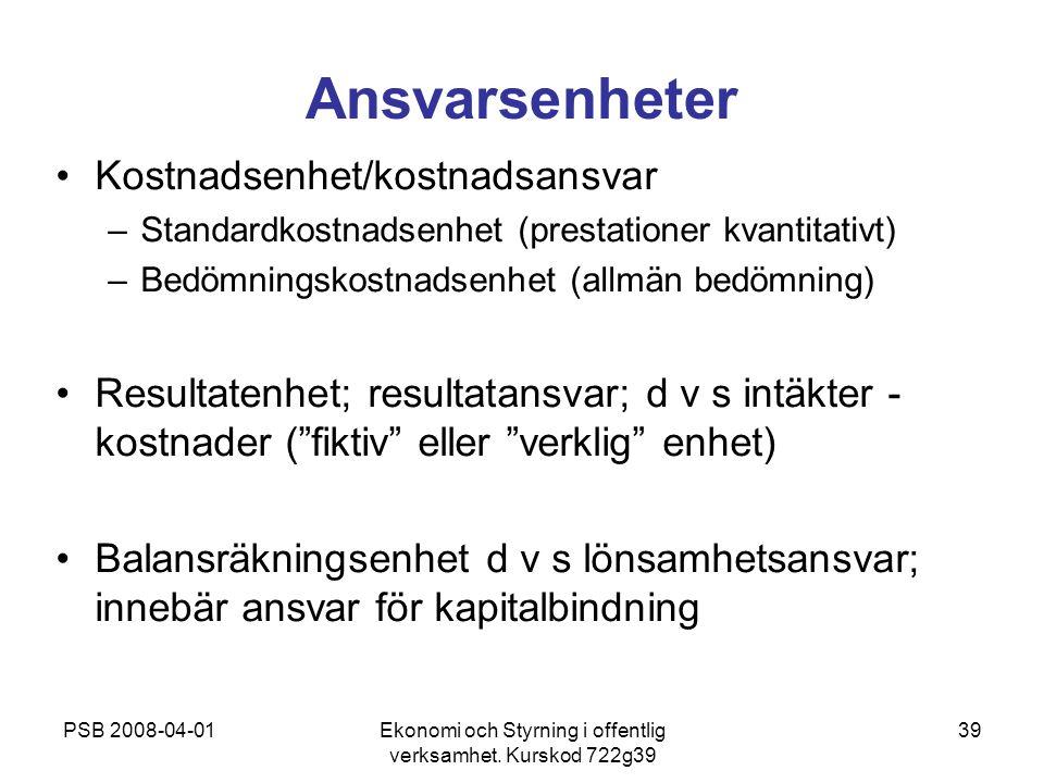 PSB 2008-04-01Ekonomi och Styrning i offentlig verksamhet. Kurskod 722g39 39 Ansvarsenheter Kostnadsenhet/kostnadsansvar –Standardkostnadsenhet (prest