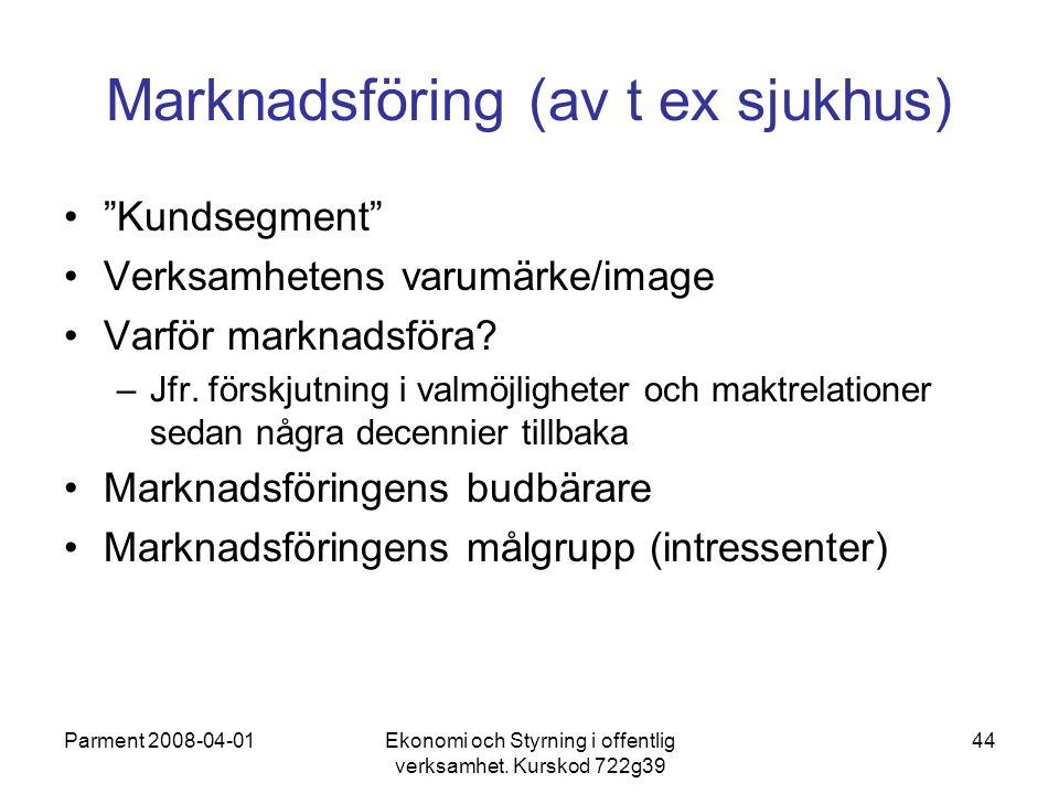 """Parment 2008-04-01Ekonomi och Styrning i offentlig verksamhet. Kurskod 722g39 44 Marknadsföring (av t ex sjukhus) """"Kundsegment"""" Verksamhetens varumärk"""