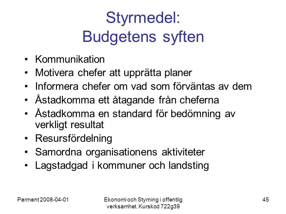 Parment 2008-04-01Ekonomi och Styrning i offentlig verksamhet. Kurskod 722g39 45 Styrmedel: Budgetens syften Kommunikation Motivera chefer att upprätt