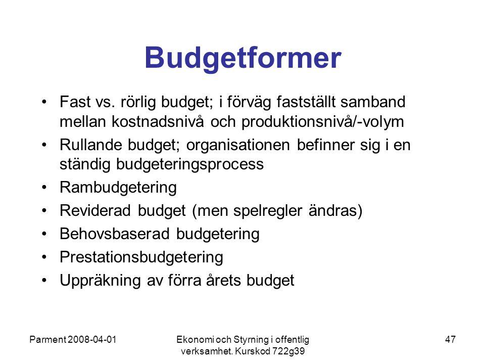 Parment 2008-04-01Ekonomi och Styrning i offentlig verksamhet. Kurskod 722g39 47 Budgetformer Fast vs. rörlig budget; i förväg fastställt samband mell