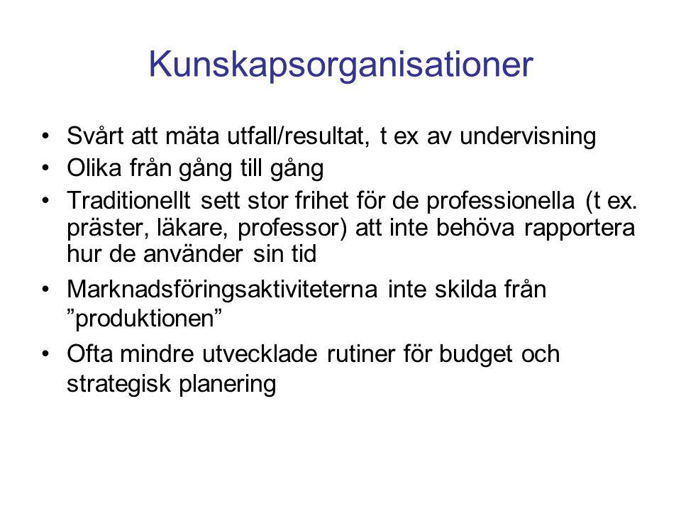 Kunskapsorganisationer Svårt att mäta utfall/resultat, t ex av undervisning Olika från gång till gång Traditionellt sett stor frihet för de profession