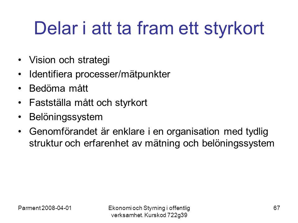 Parment 2008-04-01Ekonomi och Styrning i offentlig verksamhet. Kurskod 722g39 67 Delar i att ta fram ett styrkort Vision och strategi Identifiera proc