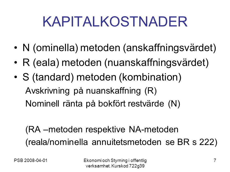 PSB 2008-04-01Ekonomi och Styrning i offentlig verksamhet. Kurskod 722g39 7 KAPITALKOSTNADER N (ominella) metoden (anskaffningsvärdet) R (eala) metode