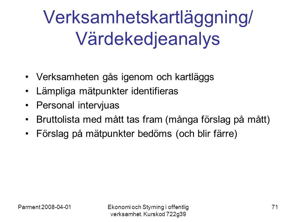 Parment 2008-04-01Ekonomi och Styrning i offentlig verksamhet. Kurskod 722g39 71 Verksamhetskartläggning/ Värdekedjeanalys Verksamheten gås igenom och