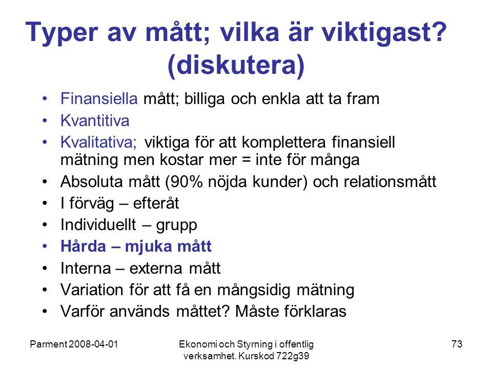 Parment 2008-04-01Ekonomi och Styrning i offentlig verksamhet. Kurskod 722g39 73 Typer av mått; vilka är viktigast? (diskutera) Finansiella mått; bill