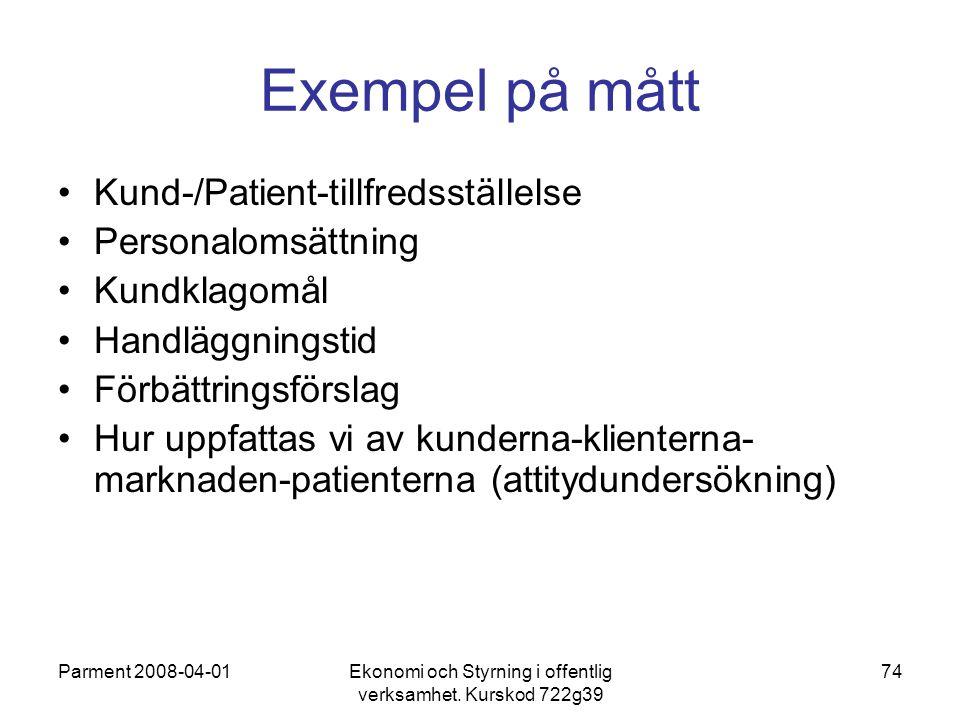 Parment 2008-04-01Ekonomi och Styrning i offentlig verksamhet. Kurskod 722g39 74 Exempel på mått Kund-/Patient-tillfredsställelse Personalomsättning K