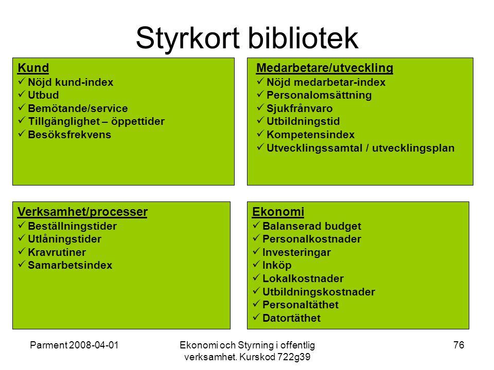 Parment 2008-04-01Ekonomi och Styrning i offentlig verksamhet. Kurskod 722g39 76 Styrkort bibliotek Kund Nöjd kund-index Utbud Bemötande/service Tillg